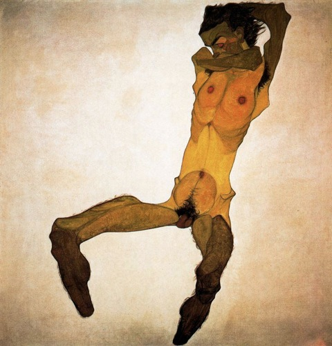 Schiele_Egon-Seated_Male_Nude_Self-Portrait